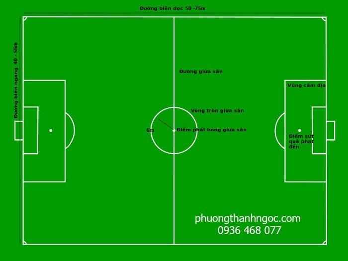 Kích thước tiêu chuẩn sân bóng đá 7 người