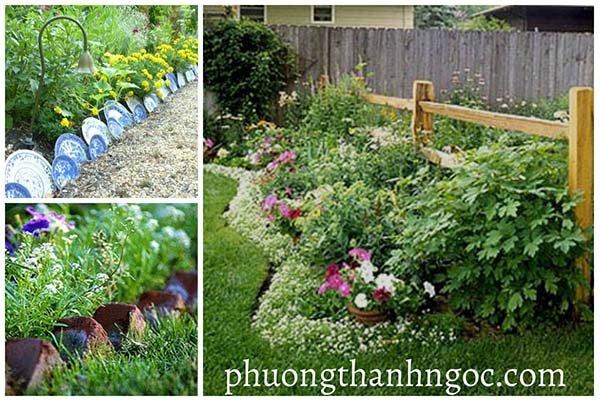 Thiết kế đường viền khu vườn bằng cỏ nhân tạo sân vườn