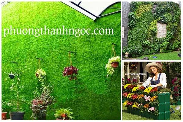 Cỏ nhân tạo sân vườn làm vườn treo tường